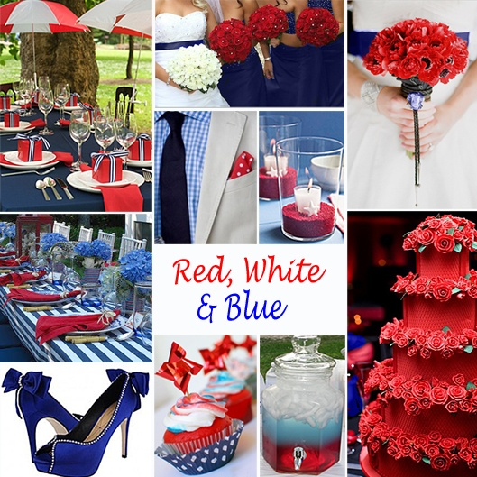 Red, White and Blue Wedding Colors -  For a Memorial Day or July 4 wedding, you might want to consider this combination. It also works great for a military wedding. With the right touch, this combination can still look elegant. #redwhitebluewedding