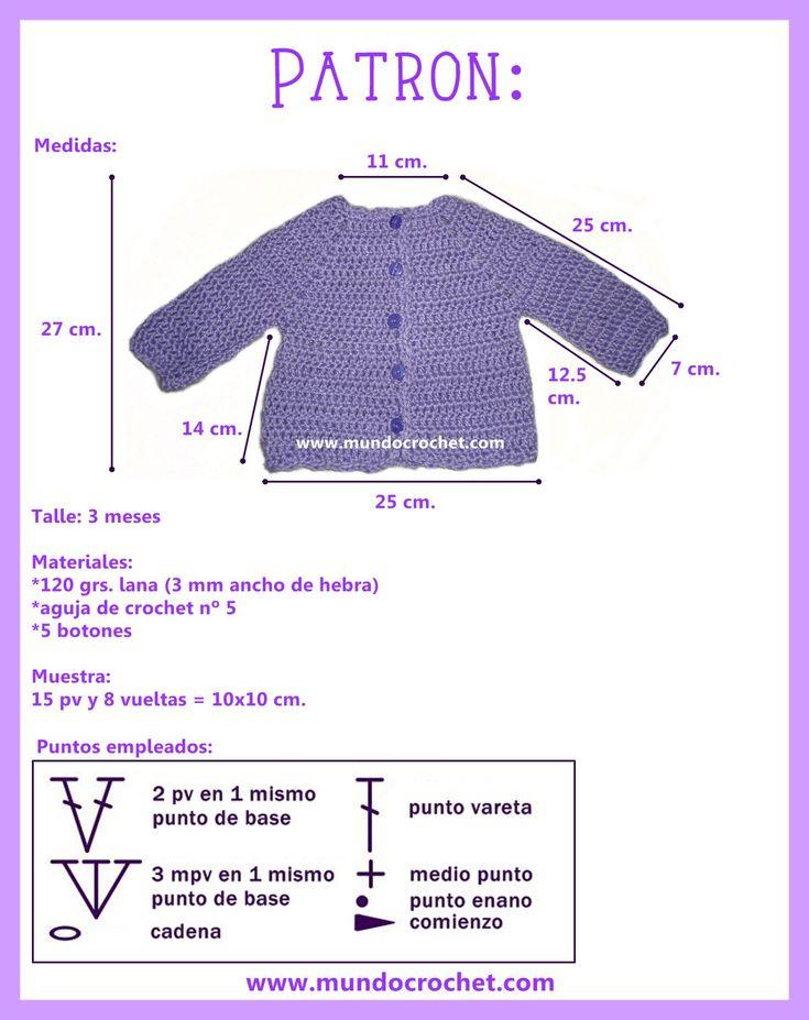 Saquito o camperita simple para bebé a crochet o ganchillo