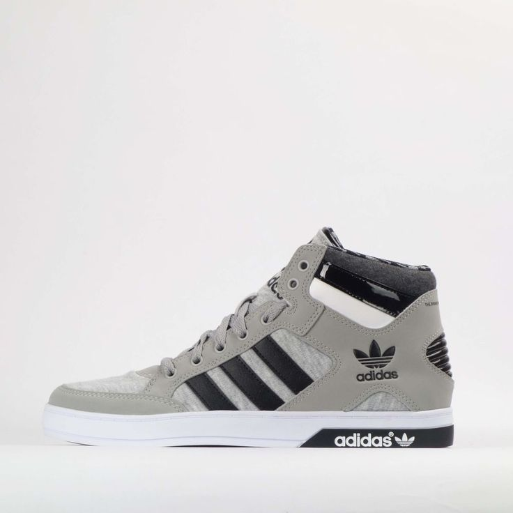adidas Originals Hardcourt Hi Mens Trainers Shoes Grey/Black #adidasOriginals #TrainersShoes