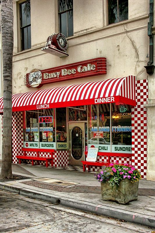 Busy Bee Cafe, Main St., Ventura, California by Jill Odice.  Reuben, I hear a reuben sandwich on sourdough calling me .....