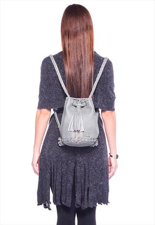 Leather Grey Bag - Bucket bag with Long Tassel and Silver Me