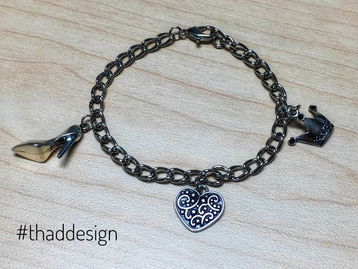 Silver colour chain charm bracelet comes with heel, heart and princess crown pendants. Goes great with any outfit! #bracelet #armcandy #thaddesign