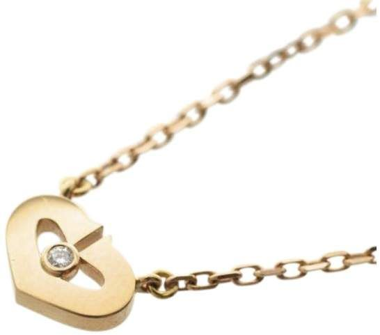 Cartier 750 Rose Gold with #diamond  C Heart Pendant Necklace #valentinesday