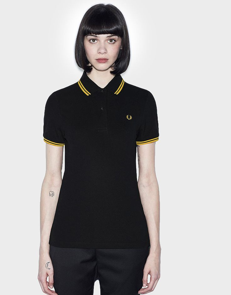 Fred Perry Womens Twin Tipped Polo Shirt Black/Yellow
