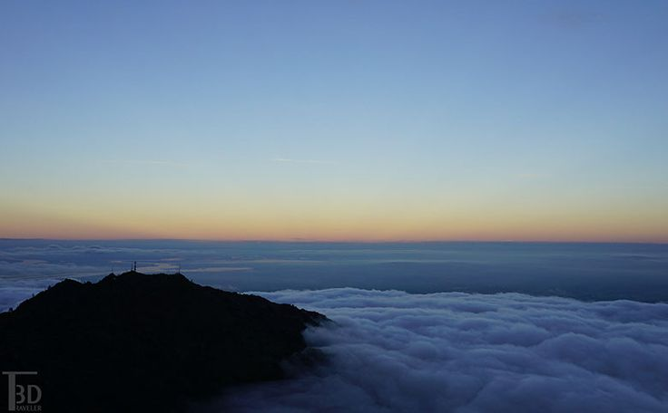 sunset from the summit of Mount Diablo, looking over at North Peak