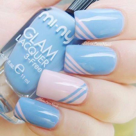 | Nail Art Rosa e Azul claro |