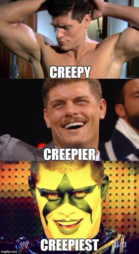 Funny Cody Rhodes meme #WWE.... i think its try tho >>>> no, how about: sexy, sexier, sexiest! thank you very much.