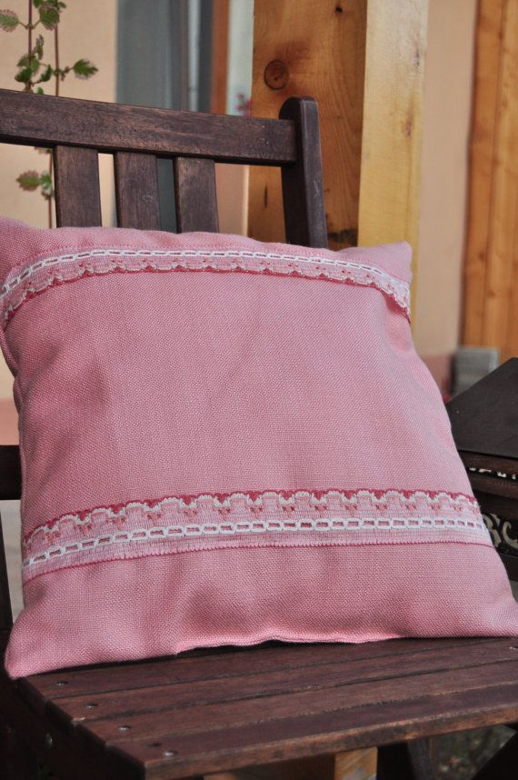 Rose dream pillow with insert  big stripes by AliCards on Etsy, $21.00