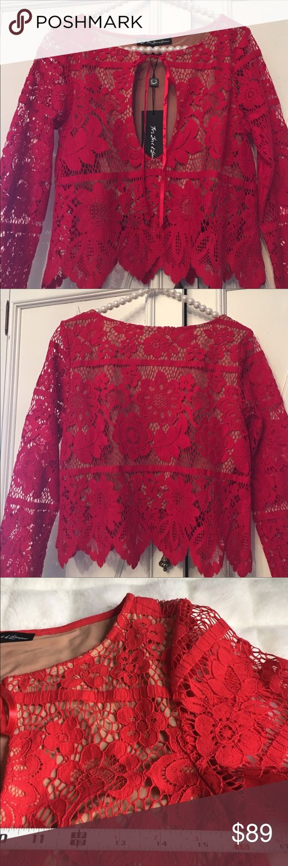 FOR LOVE & LEMONS GIANNA TOP FOR LOVE & LEMONS STUNNING RED LACE TOP ⚜️built in nude lining halfway at bodice ⚜️keyhole neckline⚜️NWT For Love and Lemons Tops