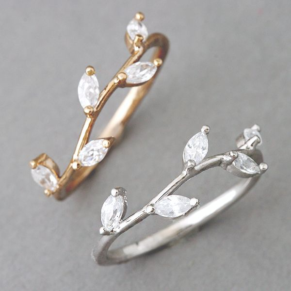 amazing pretty ring CZ White Gold Olive Ring - Kellinsilver