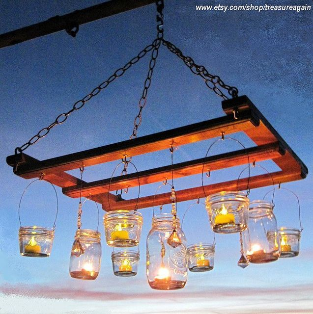 Can't get enough of the jar lanterns. Such an elegant touch!: Decor, Lights, Idea, Outdoor, Candles, Gardens, Jars Lanterns, Mason Jars Chandeliers, Pallets Projects