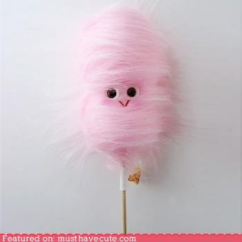 Cotton Candy with skittles eyes