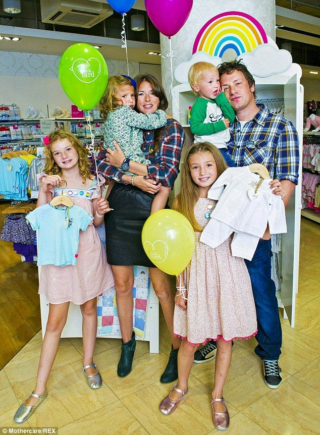 Cuddly campaigner: TV chef Jamie Oliver with his wife Jools and four children,Poppy Honey Rosie, 10, Daisy Boo Pamela, nine, Petal Blossom Rainbow, three, and Buddy Bear Maurice, two