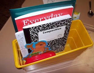 I store everything in a book box.  In the past I've also used a ziploc bag in the past.Take Home Folder - Student and Parent Handbook, Information Sheets for Parents to fill out Math Workbook Handwriting Workbook (not pictured - I ran out) Calendar Folder and D.O.L.  (not pictured - she was using it) Spelling Dictionary Writing Composition Notebook Phonics Phone Desk Plates Locker Tags Name tags for behavior board, Star Student board, Math Stations, Job Board, Book Box   Sharpened pencil
