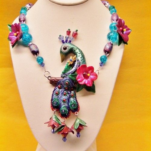 Unique OOAK Peacock and Flower Necklace in Blue Purple Green and Red