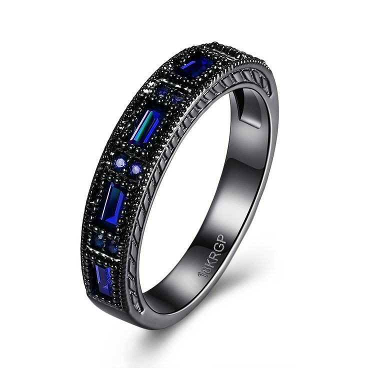 Blue Wedding Bands Black Plated eternity Finger Rings For Women Round Circle Created Amethyst Zirconia CZ Promise Rings
