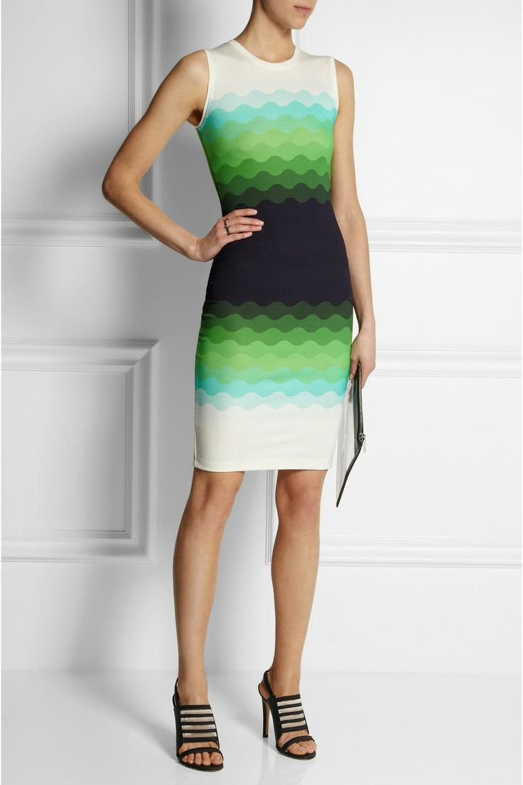 Jonathan Saunders | Wave-print stretch-jersey dress. Wear during the day with black blazer and different shoes :) | NET-A-PORTER.COM