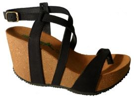 Made in Italy black wedge sandals thongs 2015