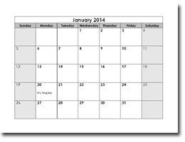 printable 2014 monthly calendar