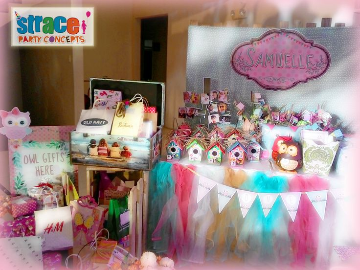 Owl Party Set-up by Strace Party Concepts: Favors and Prizes Table Set-up & Gifts Corner