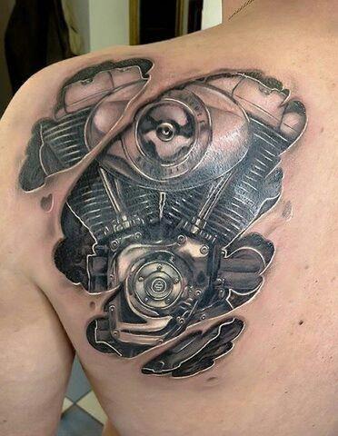V-twin engine back shoulder tattoo