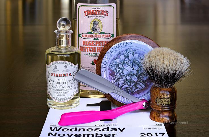 "Trumper's violet shave soap, Simpson ""Jubilee"" badger brush, Feather Artist Club folding straight razor, Thayer's rose witch hazel, Penhaligon's Zizonia cologne, November 1, 2017.  ©Sarimento1"