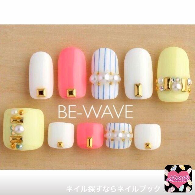 ネイル 画像 BE-WAVE 新宿 909698 黄色 ストライプ ソフトジェル
