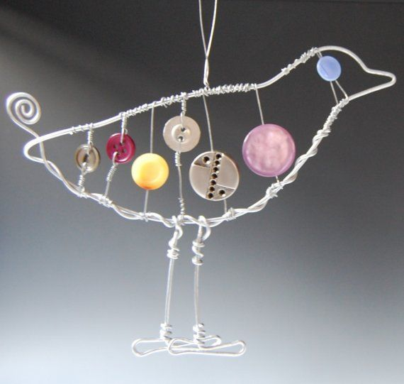 Modern Bird Wire and Button Ornament by RavenMeetsCrow on Etsy