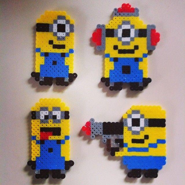 Minions perler fuse beads by vimalai21