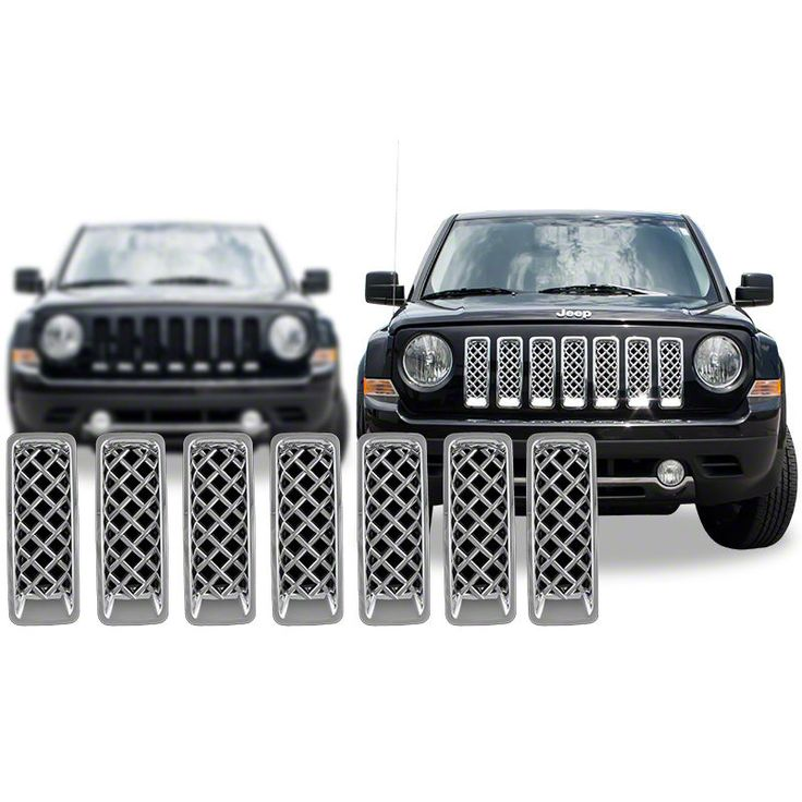 Chrome Grille Overlay FOR 2011 2012 2013 2014 2015 Jeep Patriot (7 Pieces Kit) #CCIAftermarketParts