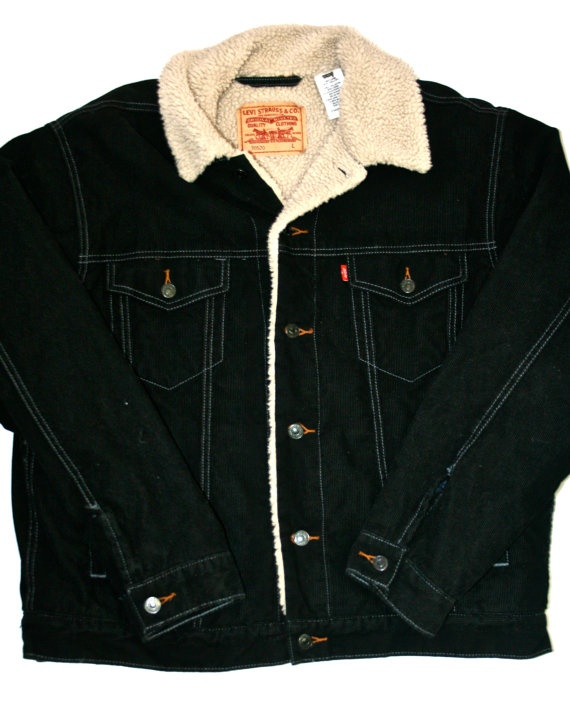 Probably hot and cool  Vintage Levi's Mens Black Corduroy Sherpa Trucker Jacket available at VintageMensGoods, $68.00