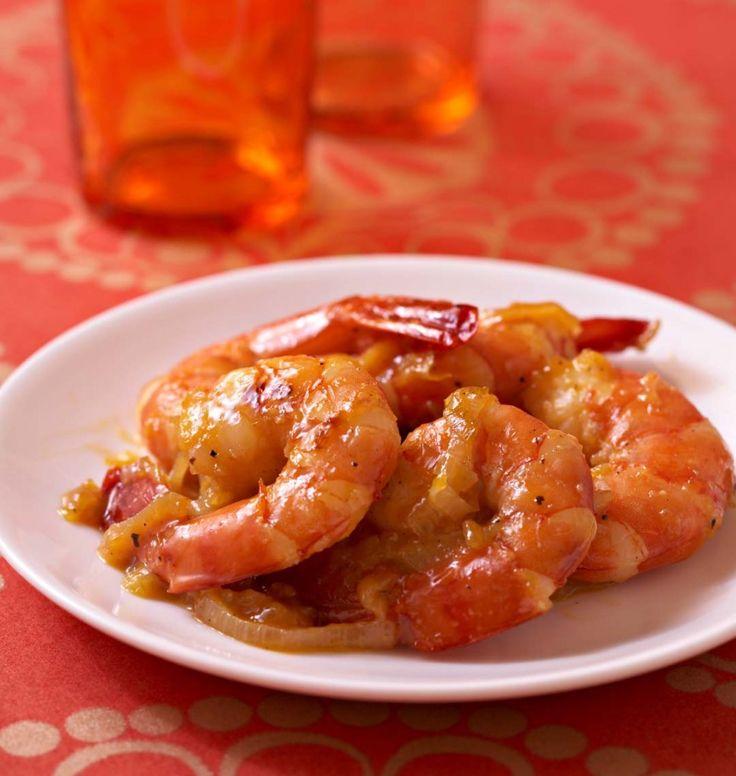 Poêlées de gambas au miel, gingembre frais et oranges - Recettes de cuisine