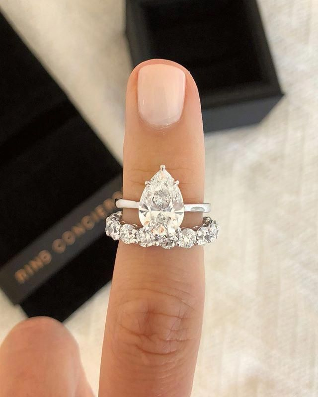 From Top To Bottom Pear Engagement Ring By Ring Concierge Round Diamond Eternity Band Pear Engagement Ring Wedding Rings Vintage Round Diamond Eternity Band