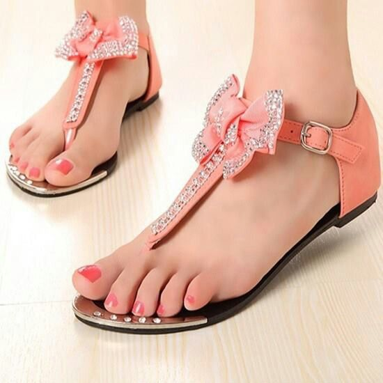Light Coral bow Sandals