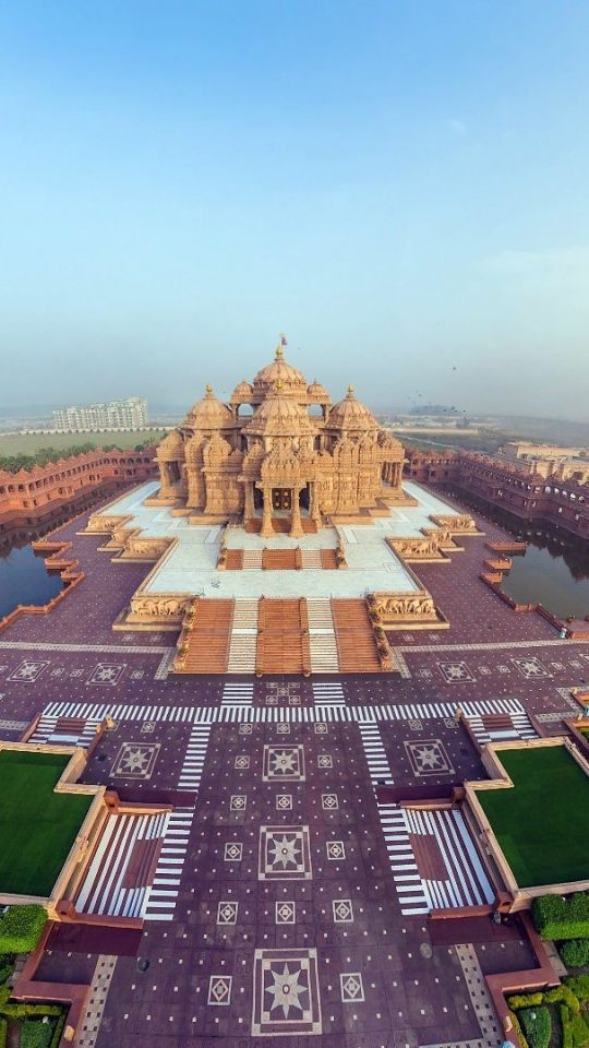 india, akshardham temple, beautiful, top view, panorama