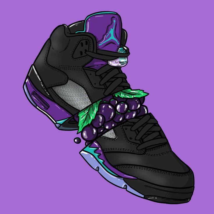 """Sneaker Art - Jordan V """"Black Grape"""""""