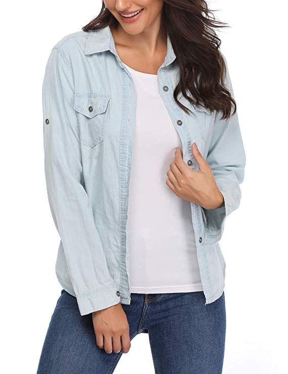 14026812768 MISS MOLY Denim Shirt for Women Rolled Long Sleeves Cotton Washed Point  Collar Chambray Western Jean