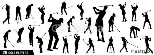 Vector: Golf silhouettes, Vector set of golf players