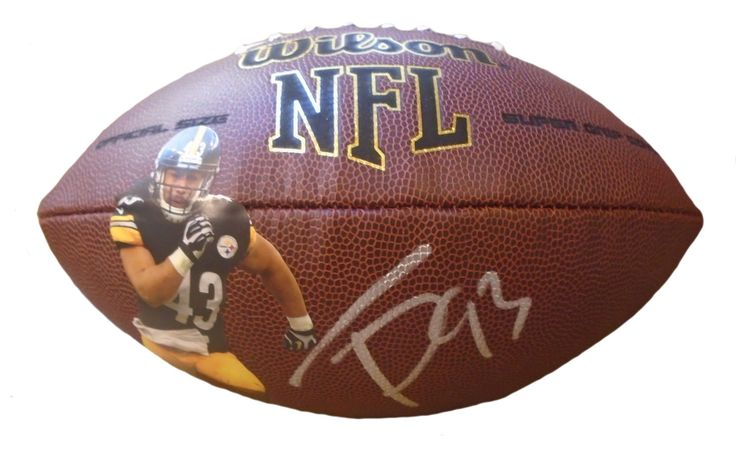 Pittsburgh Steelers Troy Polomalu signed NFL Wilson full size football w/ proof photo.  Proof photo of Troy signing will be included with your purchase along with a COA issued from Southwestconnection-Memorabilia, guaranteeing the item to pass authentication services from PSA/DNA or JSA. Free USPS shipping. www.AutographedwithProof.com is your one stop for autographed collectibles from Pittsburgh sports teams. Check back with us often, as we are always obtaining new items.