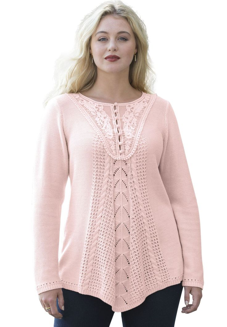 """So pretty, so feminine. Get to know our wonderful plus size sweater designed just for you.  this fit and flare shaped top beautifully fits the bodice henley pullover style elongates the neckline and allows you to dress with ease long sleeves end elegantly at your wrists features feminine cable and pointelle stitching and lovely lace at yoke at about 28"""" this top meets you below the waist cotton/acrylic with mesh lining in yoke, machine wash, imported  plus size sweaters, tunics, tops, ..."""