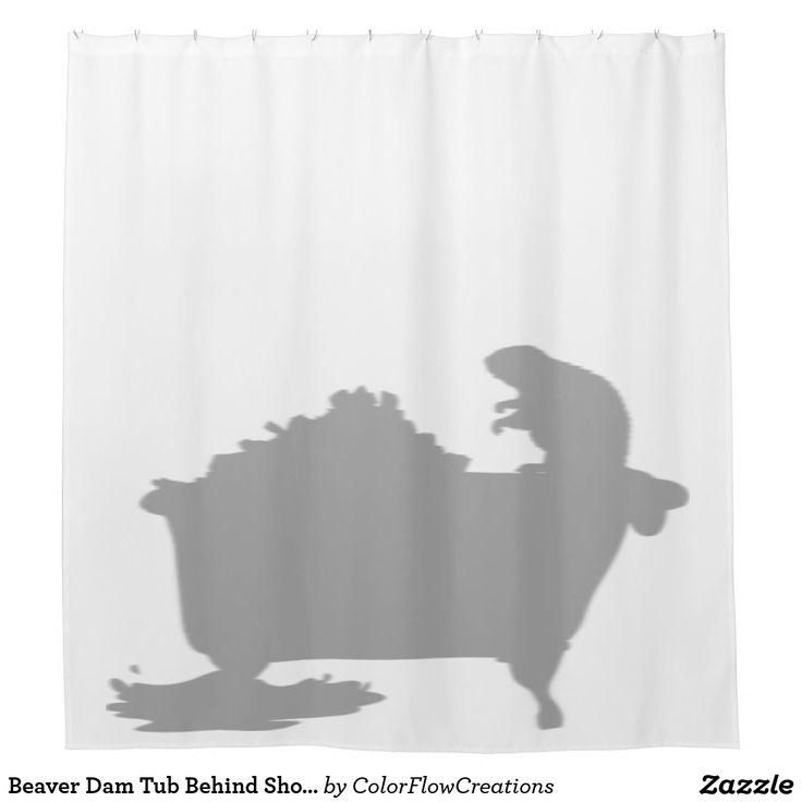 Beaver Dam Tub Behind Shower Silhouette Shadow Fun Shower Curtain -#showercurtain #silhouetteshowercurtain - #bathdecor - Beaver Shower Curtain