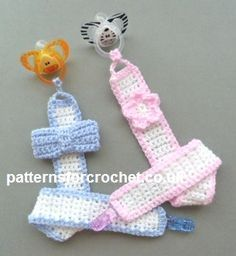 Free crochet pattern for motif pacifier clip. Free PDF http://www.patternsforcrochet.co.uk/motif-pacifier-clip-usa.html #patternsforcrochet
