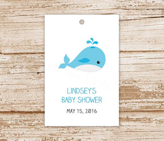 personalized BABY WHALE tags baby boy favor by CelebrateLilThings