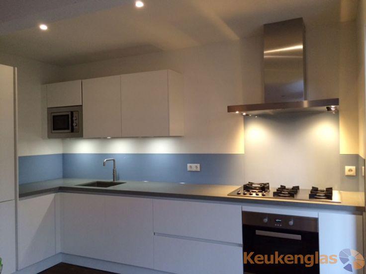 Lichtblauwe keuken achterwand Nijmegen