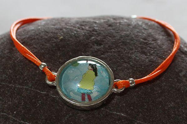 Bracelet en cordon ciré fluo avec cabochon pour fille
