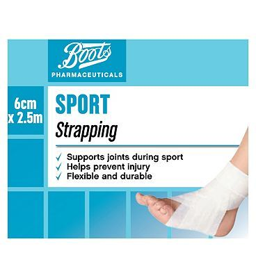#Boots Pharmaceuticals Boots Sports Strapping 2.5m x 6cm 10113604 #24 Advantage card points. Boots Sports Strapping 2.5m x 6cm is designed to support and protect joints during sporting activities. See details below. Always read the product information before use. FREE Delivery on orders over 45 GBP. (Barcode EAN=5000167083040)