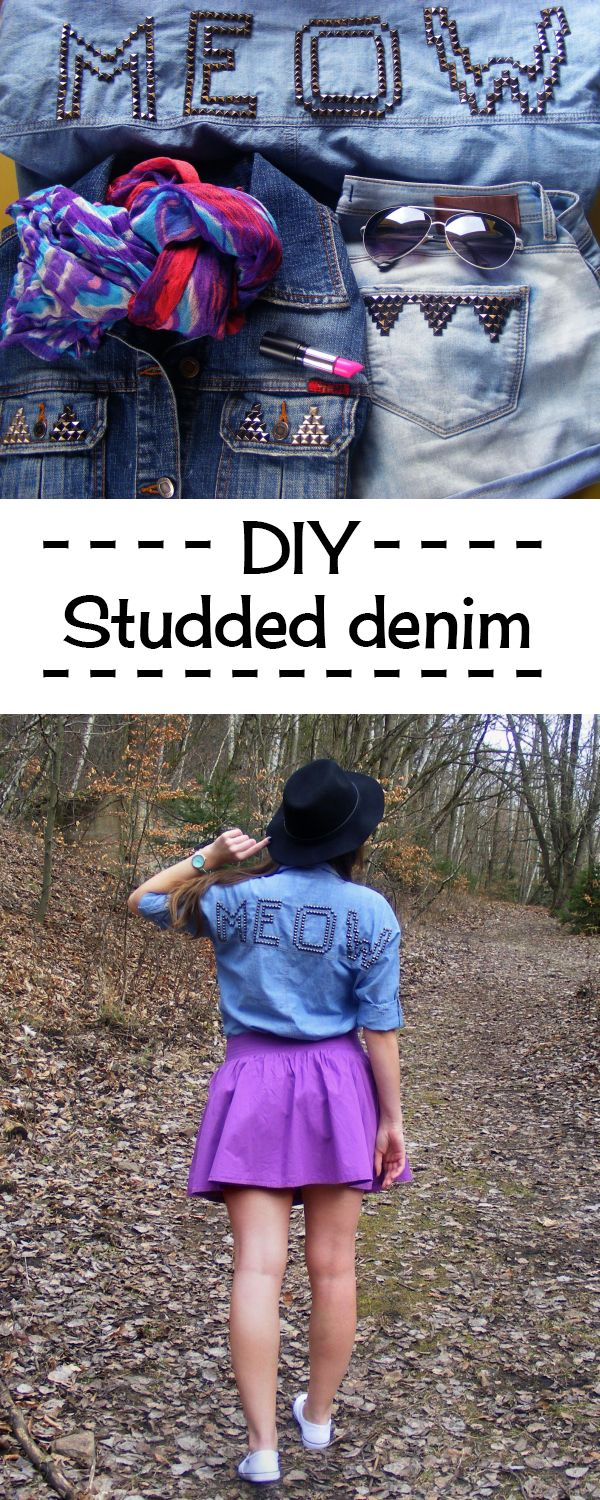 Check out this purrfect DIY studded denim shirt and some more inspiration for revamping your old but god clothing pieces.
