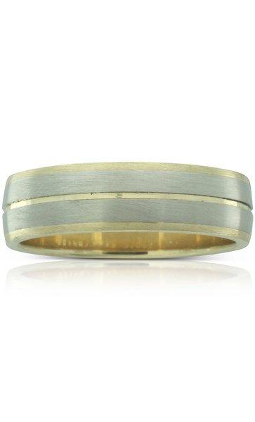 18ct white gold & 9ct yellow gold brushed men's ring