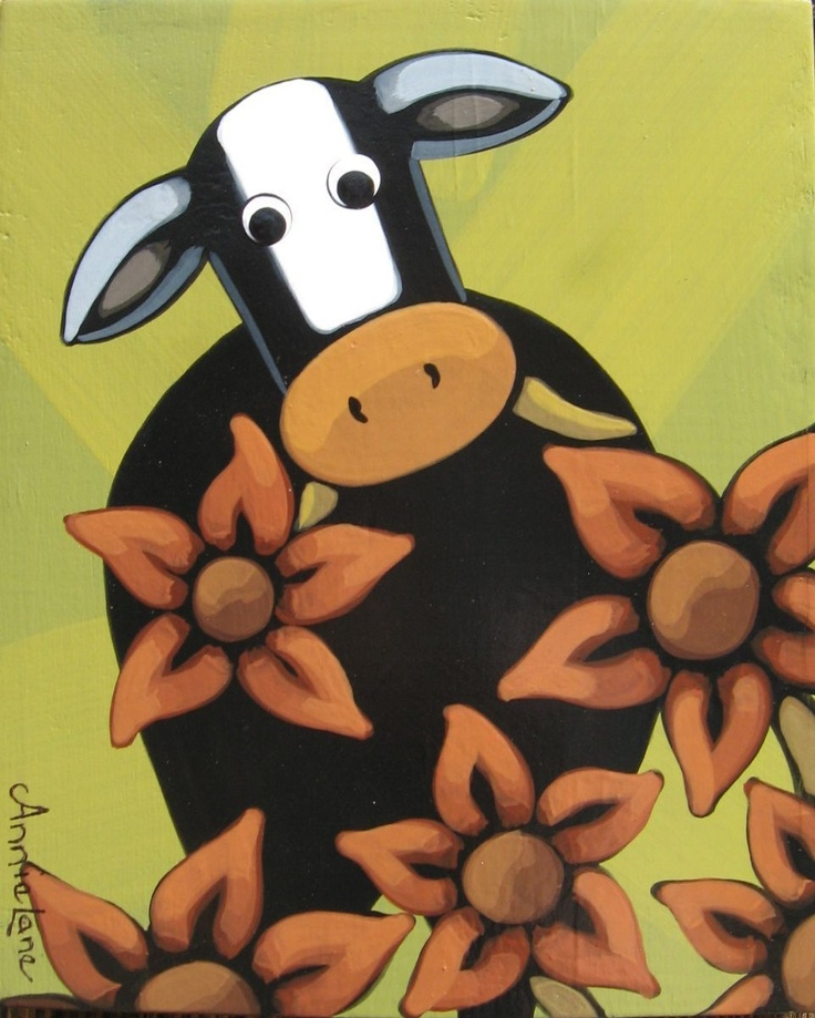 """ mOOcho Trouble "" Whimsical Art Cow Painting by Annie Lane"