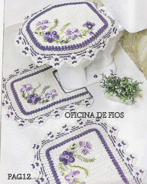 Buy Yarn To DIY http://www.aliexpress.com/store/1687168  Crochet: BATH MAT AND TOILET
